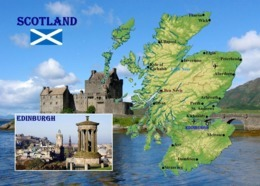 Scotland Country Map New Postcard Schottland Landkarte AK - Autres