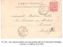 10c.semeuse Lignée Sur Carte Postale Pour La BELGIQUE Oblitéré LOURDES ENTREPOT Dateur A3 - Poststempel (Briefe)