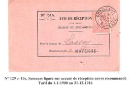 10c.semeuse Lignée Sur Avis De Réception Oblitéré CHAILLAND Mayenne Dateur A2 - Poststempel (Briefe)