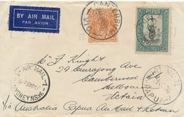 AUSTRALIA / CANTERBURY   -  1936 , Luftpost über PORT MORESBY / PAPUA  Nach Melbourne - Papua-Neuguinea