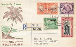 NIUE / NEW ZEALAND  -  4.6.46 ,  Beendigung Des 2. Weltkrieges - Marken Von NZ Mit Aufdruck NIUE - Nach Wellington / NZ - Niue