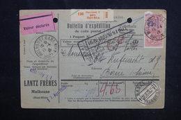 FRANCE  - Bulletin D'expédition De Mulhouse Pour La Suisse En 1925, Affranchissement Plaisant - L 52831 - Colis Postaux