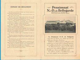 TARIF PENSIONNAT N.-D. DE BELLEGARDE NEUVILLE-SUR-SAONE RHONE ADMISSION ENSEIGNEMENT CONDITIONS TROUSSEAU UNIFORME - Publicités