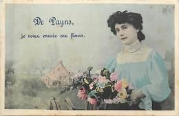 -dpts Div.-ref-AR166- Aube - Payns - Envoi De Fleurs .. - Souvenir De .. - Femme - Carte Colorisée Bon Etat - - Altri Comuni
