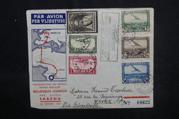 BELGIQUE - Enveloppe 1er Vol Par Avion Sabena Belgique / Congo Belge En 1935, Affranchissement Plaisant - L 52843 - Cartas