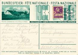 SCHWEIZ / SUISSE / UETLIBERG  -  1933 ,  Bundesfeier  Steinbock - Entiers Postaux