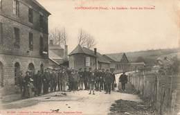 61 Pontchardon La Fonderie Sortie Des Ouvriers Cpa Carte Animée Cachet 1910 Usine Ouvrier - Autres Communes