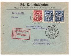 Lettre Riga 1925 Lettonie Ed. E. Lehdebohm Latvija Latvia Brno Brünn Československo - Lettonie