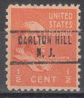 USA Precancel Vorausentwertung Preo, Locals New Jersey, Carton Hill - Vereinigte Staaten