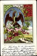 Blason Lithographie Mexiko, Adler, Schlange, Kaktus - Messico