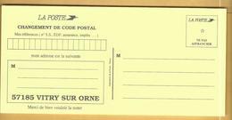 Carte Changement De Code Postal 57185 VITRY-SUR-ORNE - Documenten Van De Post