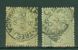 Jamaica: 1889/91   QV    SG28 / 28a   2d    Green And Deep Green     Used - Jamaica (...-1961)