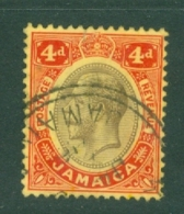 Jamaica: 1912/20   KGV    SG63c    4d    Black & Red/yellow [on Pale Yellow]    Used - Jamaica (...-1961)