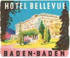 ETIQUETA DE HOTEL  -HOTEL BELLEVUE  -BADEN-BADEN -ALEMANIA   (CON CHANELA) - Adesivi Di Alberghi