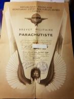 Brevet Militaire De Parachutiste 30 Juin 1958 . - Documenten