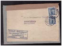 Dt- Reich (008552) Propaganda Doppelt Verwendeter Umschlag NSDAP Hitler-Jugend Bann Aschaffenburg 331 Vorgedruckt, - Enteros Postales
