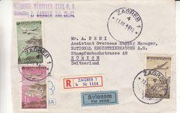 Yougoslavie - Lettre Recom De 1948 - Oblit Zagreb - Exp Vers Zürich - Avions - - Brieven En Documenten