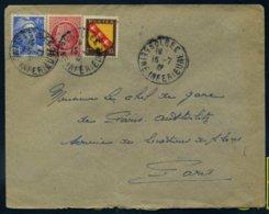 718A Gandon 676 Mazelin 757 Armoiries De Lorraine Tarif 6F Bolbec Seine Inférieure 1947 Affranchissement Composé - Marcophilie (Lettres)