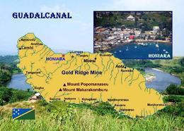 Solomon Islands Guadalcanal Island Map New Postcard Salomonen AK - Salomon