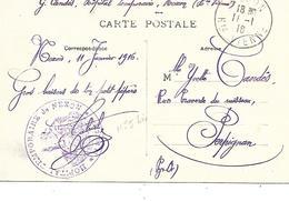 87-cachet Hôpital Temp De Nexon (N°5 Bis) Sur Belle CP En 1916 - Postmark Collection (Covers)