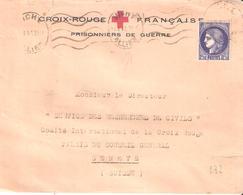 2f50 Céres Sur Lettre Pour La SUISSE En Tete CROIX ROUGE FRACAISE PRISONNIERS DE GUERRE - Poststempel (Briefe)