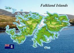Falklands Islands Map Malvinas New Postcard Falklandinseln Landkarte Malwinen AK - Falkland