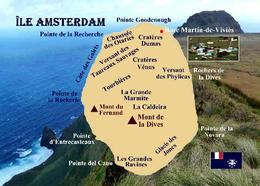 Amsterdam Island Map TAAF New Postcard - TAAF : Franz. Süd- Und Antarktisgebiete