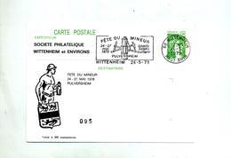 Carte Postale 1.00 Sabine Flamme Wittenheim Fete Du Mineur Illustré - Postal Stamped Stationery