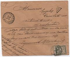 MADAGASCAR Lettre Locale Non Affranchie Taxe Banderole 20c Vert Non Dentelé AMBOSITRA + Mention Facteur Au Dos 1911 RRR - Strafportzegels