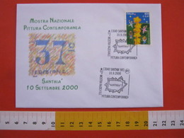 A.13 ITALIA ANNULLO 2000 SANTHIA VERCELLI MOSTRA NAZIONALE PITTURA CONTEMPORANEA MAPPA CITTA ARCHITETTURA - Arte
