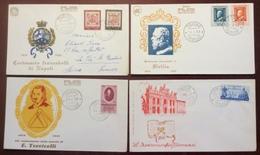 I2 Italie Centenario Francobolli Napoli + Sicilia + Torricelli + Patti Lateranensi Torino FDC 1958 1959 Lot 4 Lettre - 6. 1946-.. Republic