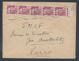 806 Gandon Bande De 5 Tarif 15F Flamme Bordeaux Gare 1949 - Marcophilie (Lettres)