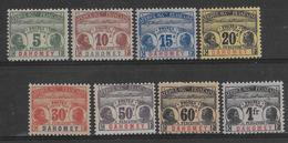 1906 - PALMIERS FAIDHERBE BALLAY - DAHOMEY - SERIE COMPLETE TAXE * MH CHARNIERE CORRECTE - COTE = 168 EUR. - 1906-08 Palmiers – Faidherbe – Ballay