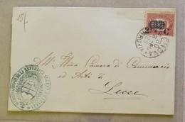 Francobolli Di Servizio, Busta Di Lettera Genova-Lecce - 30/03/1880 2c. Sovrastampato Su 0,20 - Marcophilia