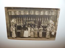 HAUTS DE SEINE PUTEAUX CARTE PHOTO DEVANTURE DE LA BOUCHERIE HUYART ANIMATION METIER - Puteaux