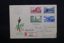 SUISSE - Enveloppe  En Recommandé De Rütli En 1948 Pour Paris, Affranchissement Plaisant - L 52880 - Marcofilia