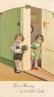 """Little Boy And Girl"" Lovely  German Greetings Postcard 1930s - Niños"