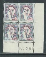 France N° 1282 XX : Marianne De Cocteau  En Bloc De 4 Coin Daté Du 10 . 2 . 61 ;  Sans Charnière TB - 1960-1969