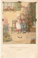 """""""Little Boy And Girl"""" Lovely Vintage  German Greetings Postcard - Niños"""