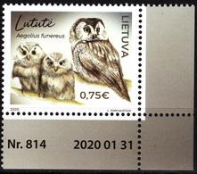 LITHUANIA 2020-02 FAUNA: Red Book Of Lithuania. Bird Owl. Requisites CORNER, MNH - Owls