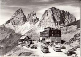 Passo Di Sella - Albergo - Mari Flora - Bus - Cars - Photo - Italy - Unused - Photos