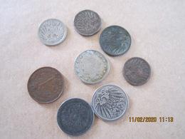 8 Anciennes Pièces De Monnaie Début 20 ° Siècle, Allemand, USA, Belge - Equipement