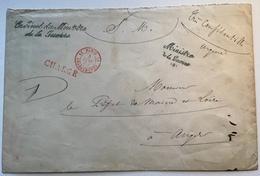 """1887 """"CABINET DU MINISTRE DE LA GUERRE"""" + """"PARIS 11 CHARGEMENTS""""lettre Franchise CHARGÉ(type Sage Cover War Krieg France - Marcophilie (Lettres)"""
