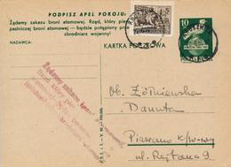 POLAND / POLEN / KRUSZWICA - 1950 , Für Den Weltffrieden - Zusatzstempel  Verbot Von Atomwaffen -  Kartka Nach Piaseczno - Entiers Postaux