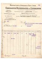 Facture Manufacture De Linoleum & Tapis Liège Compagnie Rouennaise De Linoleum Le Houlme En 1925 - 1900 – 1949
