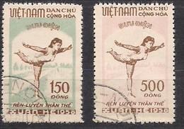 Vietnam Du Nord 1958 Yvertnr. 135-136 (o) Oblitéré Cote 32,50 € Pour La Culture Physique - Vietnam