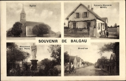 Cp Balgau Haut Rhin, Eglise, Epicerie Mercerie Bixel, Grand' Rue, Monument Aux Morts - Otros Municipios