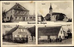 Cp Balgau Haut Rhin, Eglise, Epicerie Keller, Restaurant Loewert, Restaurant Eug. Engasser - Otros Municipios