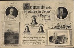 Cp Bayeux Calvados, Benediction Des Cloches De Rubercy, Calvaire, Église, Lemonniere, Pie X - Autres Communes