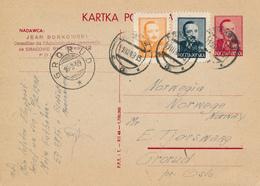 POLAND / POLEN / RAKOW     - 1949  ,  Kartka Pocztowa Nach GRORUD / Norge - Entiers Postaux
